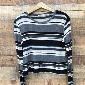 Michael Stars striped top black gray EUC LS